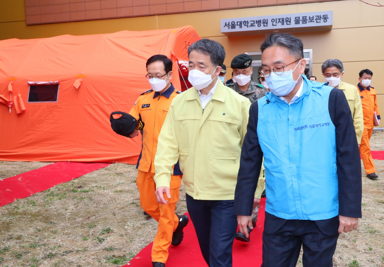 Park Neung-hoo, Vice Head 1 of the Central Disaster and Safety Countermeasures Headquarters, Attends the Opening Ceremony of the Gyeongbuk Daegu 3 Community Treatment Center (Mun-gyeong Seoul National University Hospital Training Center)12